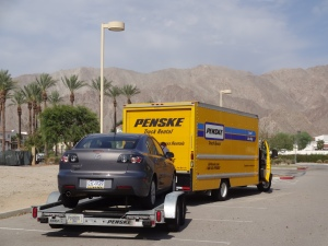 Our moving caravan traveling through the Palm Desert.